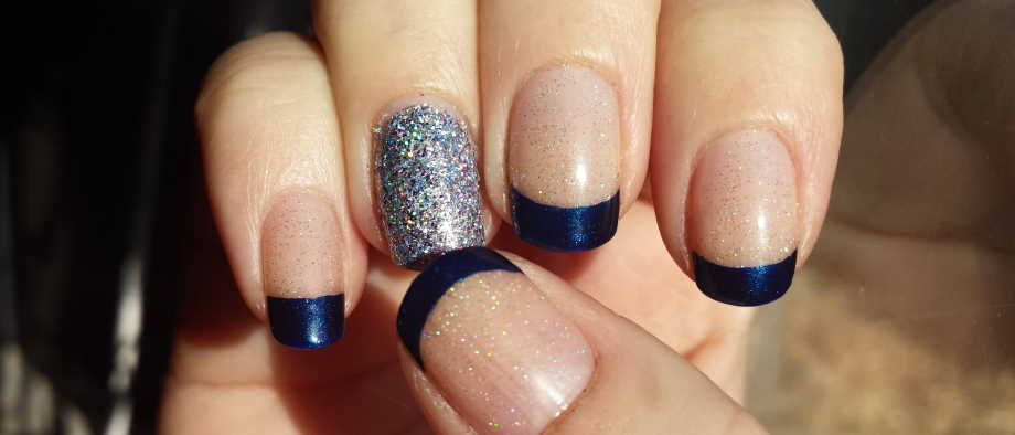 What color nails should I do with a navy blue dress for a wedding